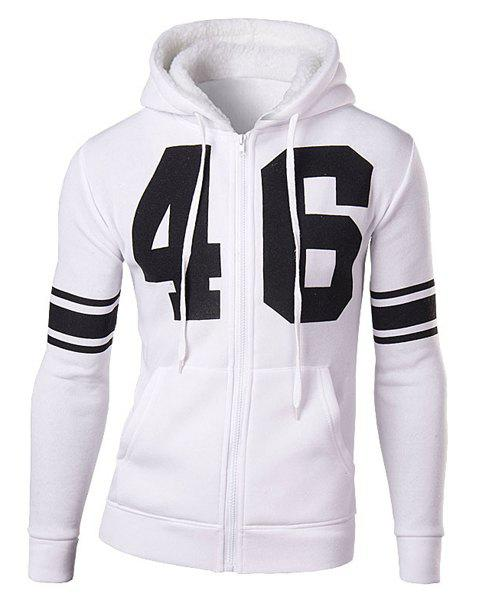 Slimming Stylish Number and Stripe Print Long Sleeve Cotton Blend Thicken Men's Hoodie - WHITE L