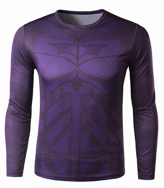 Slimming Round Neck Modish 3D Batman Print Long Sleeve Polyester Men's Quick-Dry T-Shirt - PURPLE L