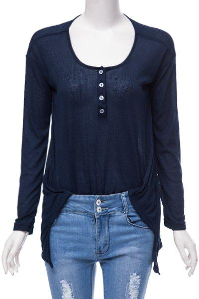 Stylish Scoop Neck Long Sleeve Loose-Fitting High Low T-Shirt For Women - DEEP BLUE XS