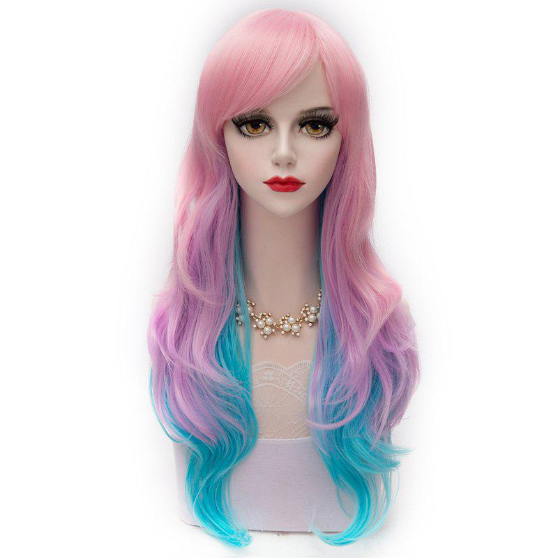 Fashion Pink Ombre Blue Long Side Bang Layered Heat Resistant Fiber Capless Wavy Wig For Women - OMBRE
