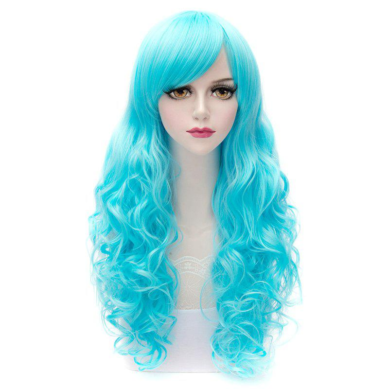 Charming Multicolor Long Heat Resistant Synthetic Fluffy Wave Side Bang Capless Women's Wig - BLUE