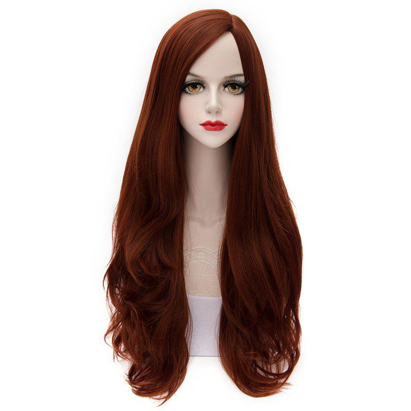 Elegant Centre Parting Lolita Style Stylish Capless Shaggy Long Wavy Synthetic Wig For Women - DEEP RED 3