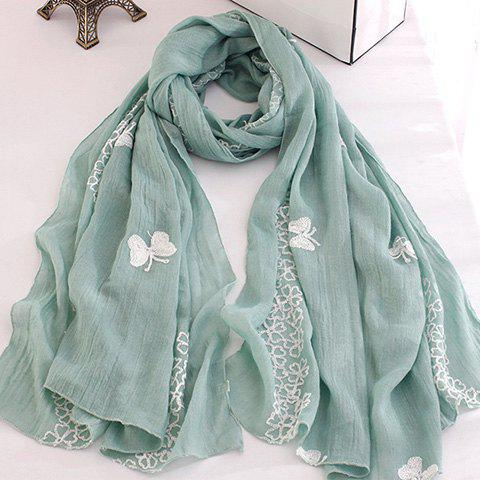 Chic Flowers and Butterflies Embroidery Scarf For Women