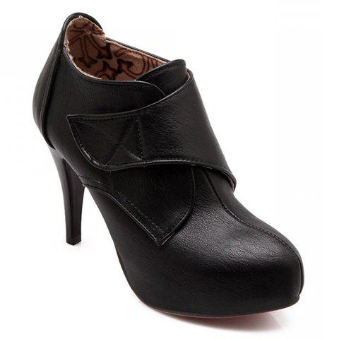 Concise PU Leather and Round Toe Design Boots For Women - BLACK 38