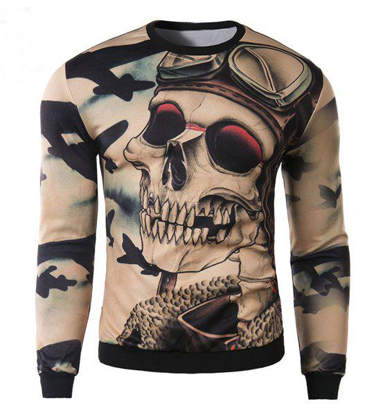 Slimming Round Neck Stylish 3D Skull Pattern Long Sleeve Cotton Blend Men's Sweatshirt - DARK KHAKI M