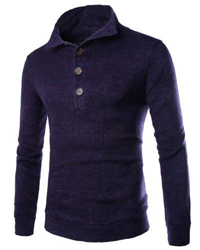 Stylish Slimming Long Sleeves Single-Breasted Solid Color Men's High Collar Knitting Sweater - CADETBLUE M