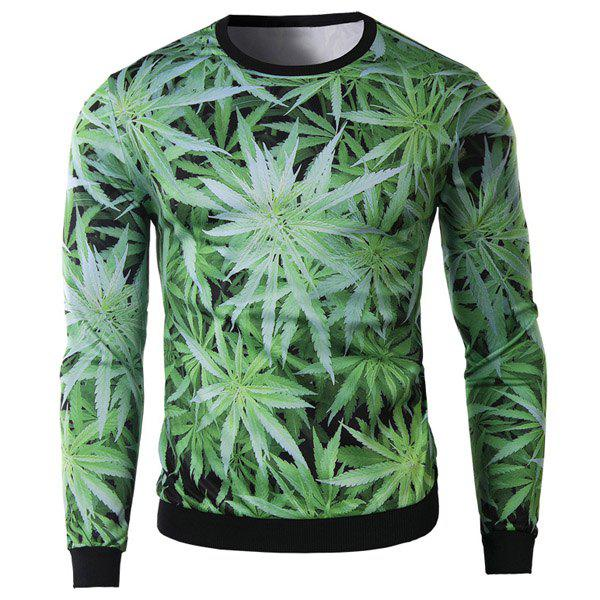 Slimming Round Neck Fashion 3D Green Leaves Print Long Sleeve Cotton Blend Men's Sweatshirt - GREEN M