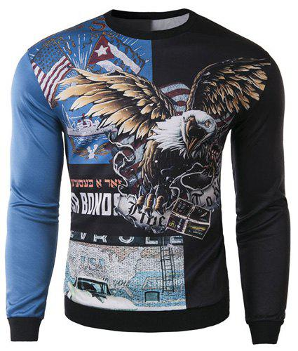 Slimming Round Neck Stylish 3D Eagle Pattern Long Sleeve Cotton Blend Men's Sweatshirt