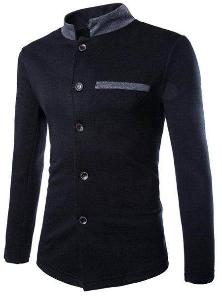 Slimming Stand Collar Elegant Patch Pocket Hit Color Long Sleeves Men's Chinese Tunic Suit - BLACK XL