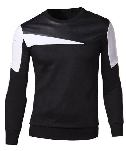 Slimming Round Neck Fashion Color Block Fabric Splicing Long Sleeve Cotton Blend Men's Sweatshirt - BLACK XL