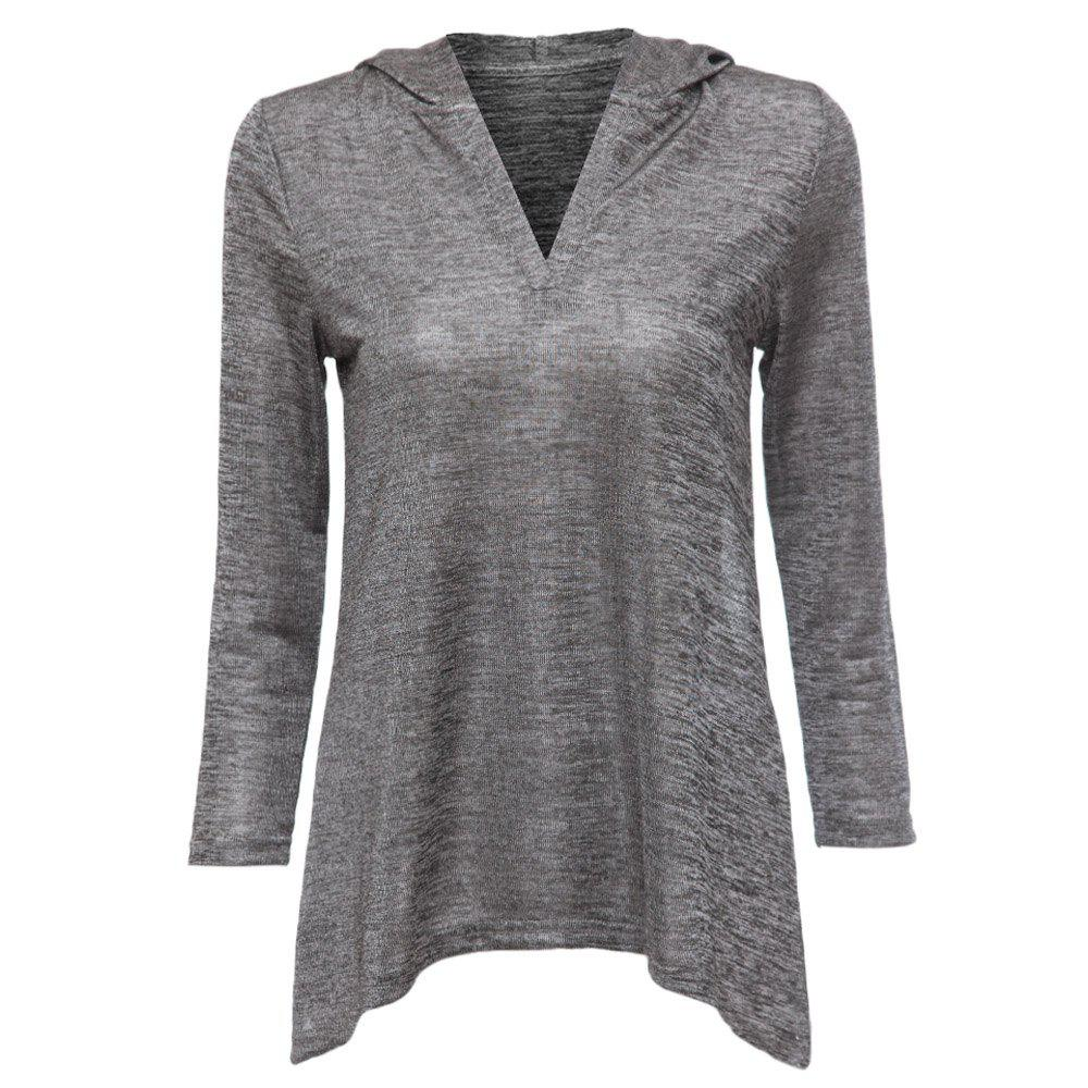 Simple Design Hooded Long Sleeve Pure Color Knitted Women's Blouse - GRAY XL