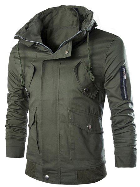 Slimming Multi-Pocket Rib Spliced Lacing Design Stand Collar Long Sleeves Men's Safari Jacket