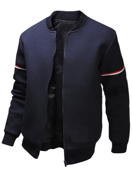 Casual Stand Collar Colorized Striped Taps Rib Spliced Long Sleeves Men's Slimming Jacket 141222005