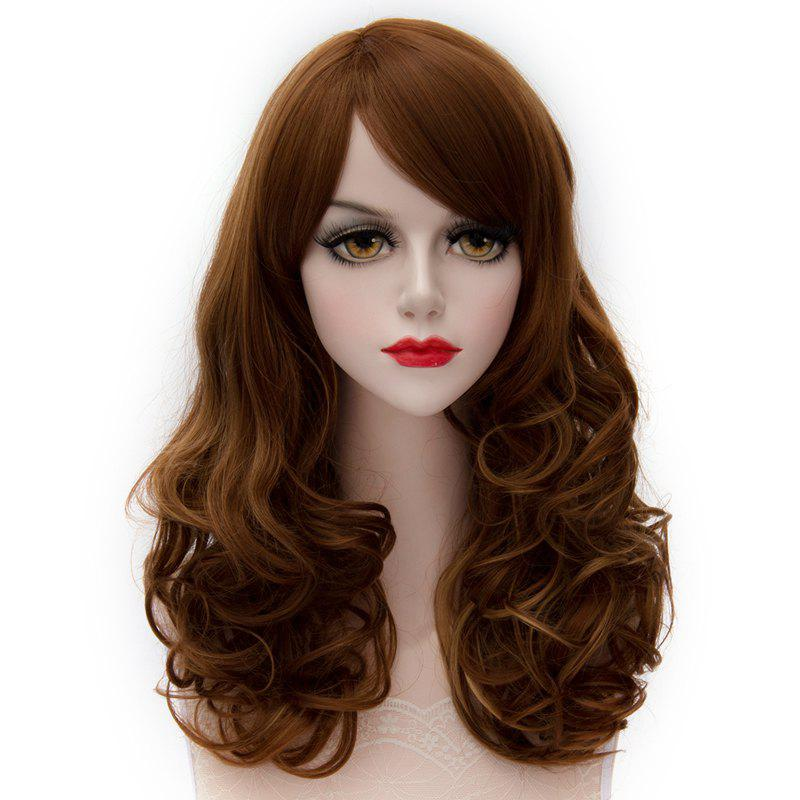 Lolita Synthetic Attractive Shaggy Long Highlight Capless Side Bang Wave Women's Wig - BROWN HIGHLIGHT /