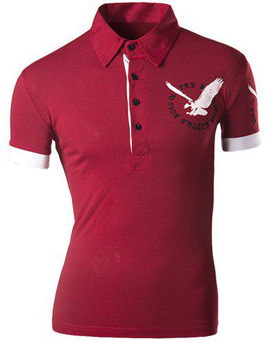 Slimming Turndown Collar Stylish 3D Eagle Pattern Short Sleeve Men's Polo T-Shirt - RED XL