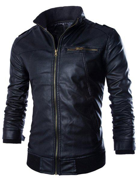 PU Leather Stand Collar Horizontal Zipper Epaulet Rib Spliced Long Sleeves Men's Slimming Jacket - BLACK M