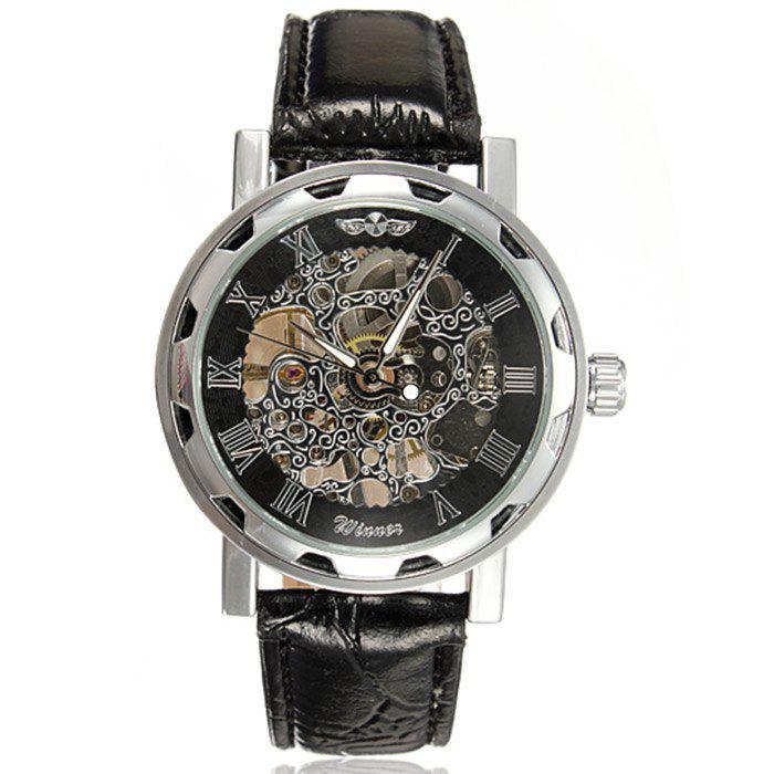 Winner Double-sided Hollow Out Men Leather Strap Mechanical Watch - BLACK