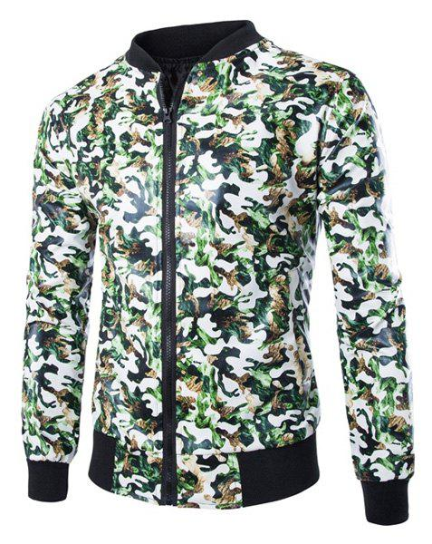 Camouflage Stand Collar Color Block Rib Splicing Slimming Long Sleeves Men's PU Leather Jacket