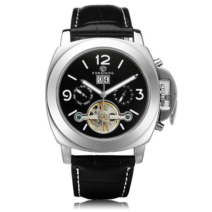 Forsining 005 Men Tourbillon Genuine Leather Band Automatic Mechanical Watch with Two Working Sub-dials - BLACK