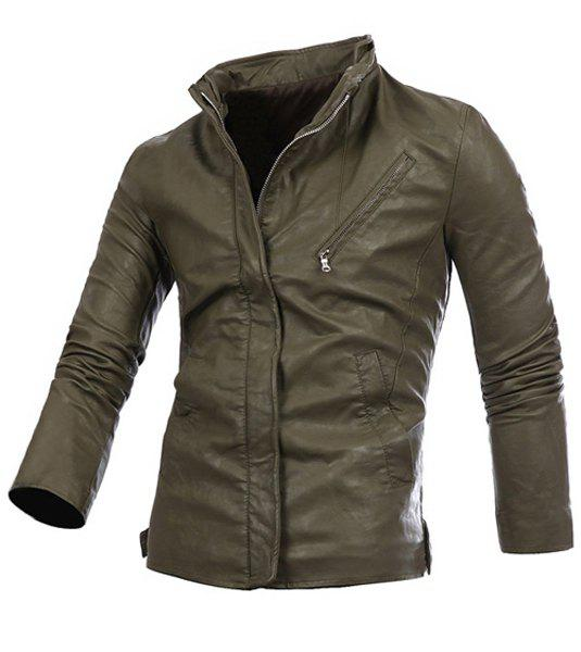 PU Leather Inclined Zipper French Front Slimming Stylish Stand Collar Long Sleeves Men's Jacket - ARMY GREEN M