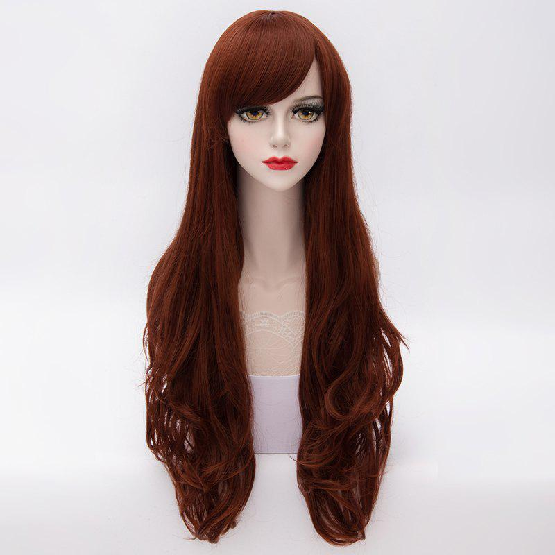 Stylish Extra Long Lolita Harajuku Side Bang Heat Resistant Synthetic Wave Capless Women's Wig - DEEP RED