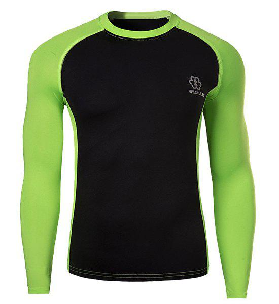 Skinny Round Neck Stylish Two Color Splicing Logo Print Long Sleeve Men's Quick-Dry T-Shirt - GREEN 2XL