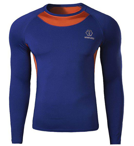 Skinny Round Neck Trendy Logo Print Two Color Splicing Long Sleeve Men's Quick-Dry T-Shirt - SAPPHIRE BLUE XL