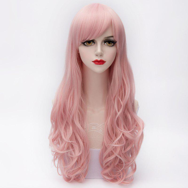 Harajuku Layered Long Charming Side Bang Synthetic Capless Wavy Assorted Color Wig For Women -  PINK /