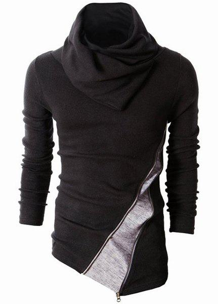 Irregular Hem Color Spliced Zipper Design Long Sleeves Slimming Men's High Collar Knitting Sweater - BLACK XL