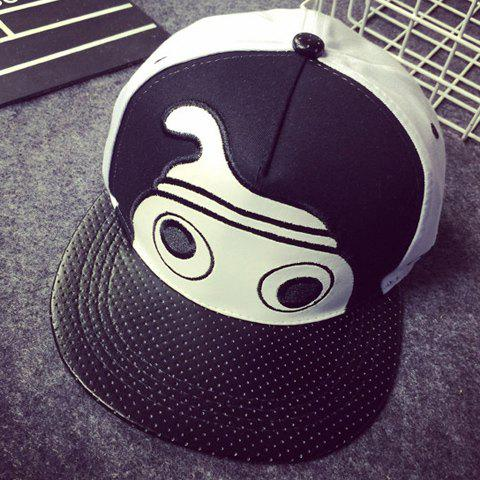 Stylish Cartoon Head Embroidery Faux Leather Brim Men's Baseball Cap - WHITE/BLACK