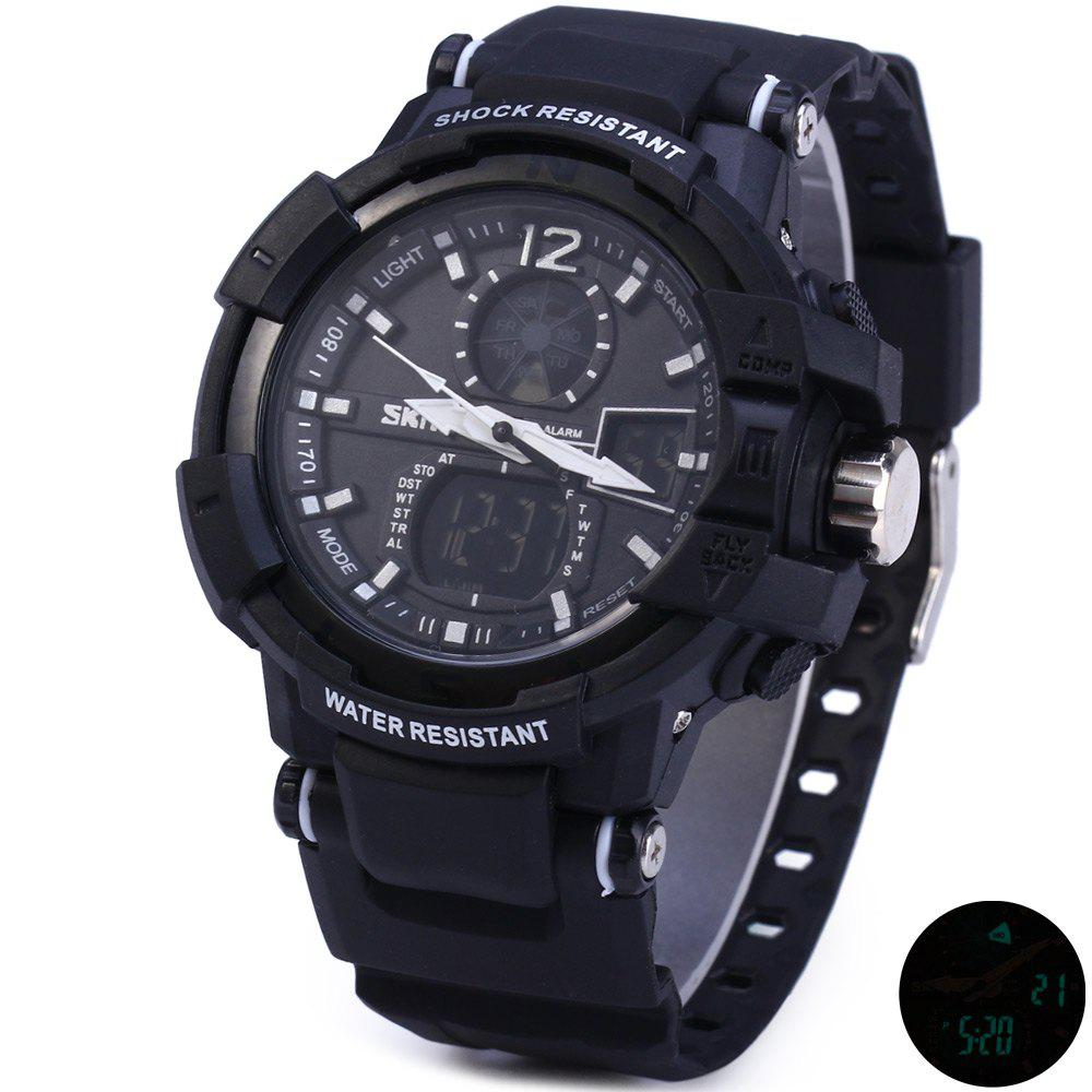 Skmei 1040 Dual Movement 5ATM Water Resistant LED Watch with Week Date Stopwatch -  BLACK