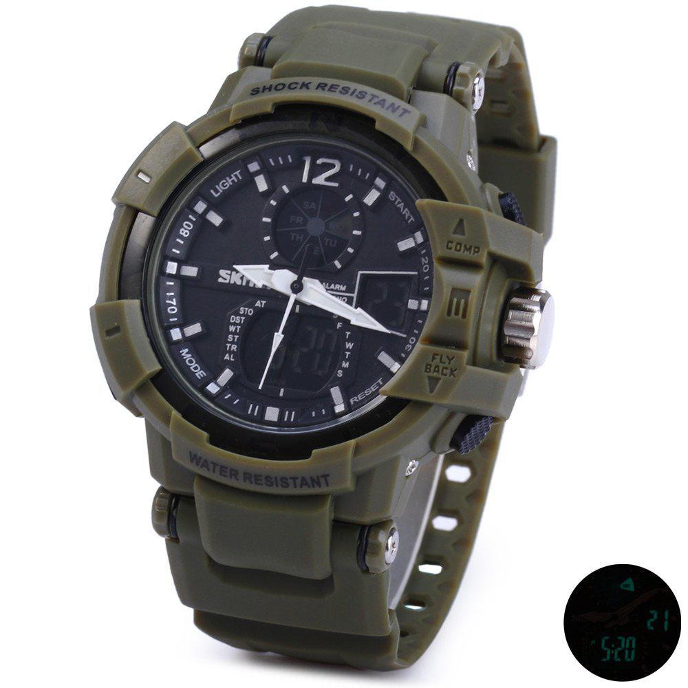 Skmei 1040 Dual Movement 5ATM Water Resistant LED Watch with Week Date Stopwatch - ARMY GREEN