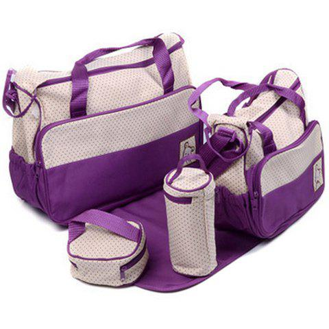 Casual Color Matching and Bear Cub Design Diaper Bag For Women - PURPLE