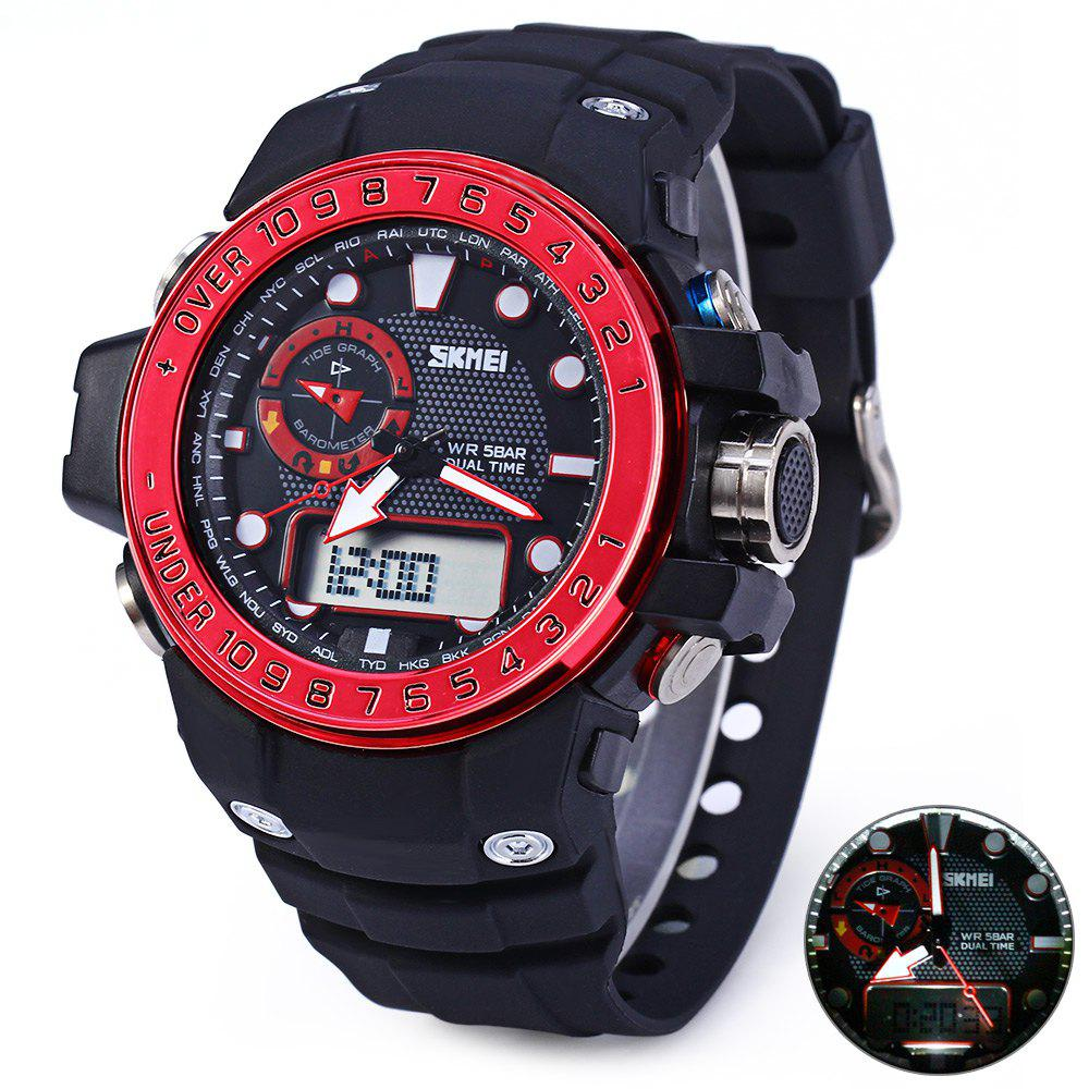 Skmei 1063 Sports Watch with Large Dial Rubber Band Water Resistance Double Movt Calender Week Alarm Stopwatch - RED