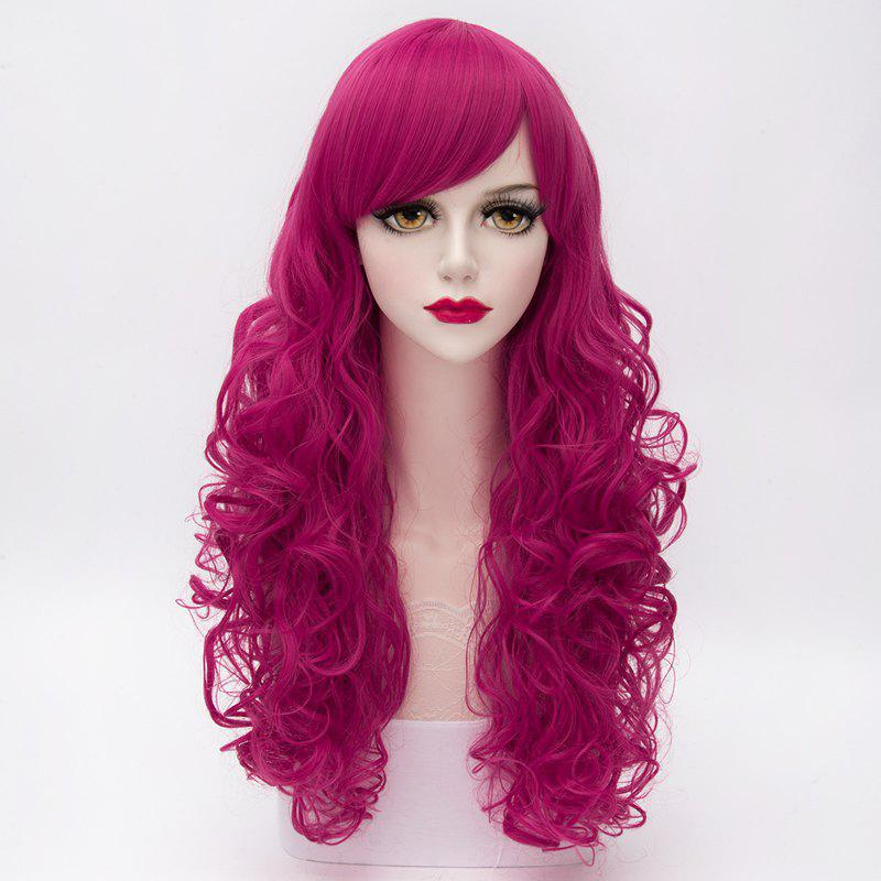 Stylish Wavy Lolita Long Capless Towheaded Side Bang Assorted Color Synthetic Wig For Women - ROSE RED
