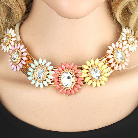 Stylish Chic Resin Beads Design Flower Necklace For Women - COLORFUL
