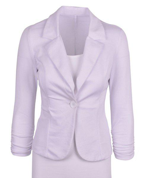 Stylish Lapel Long Sleeve Solid Color Slimming Women's Blazer - WHITE L