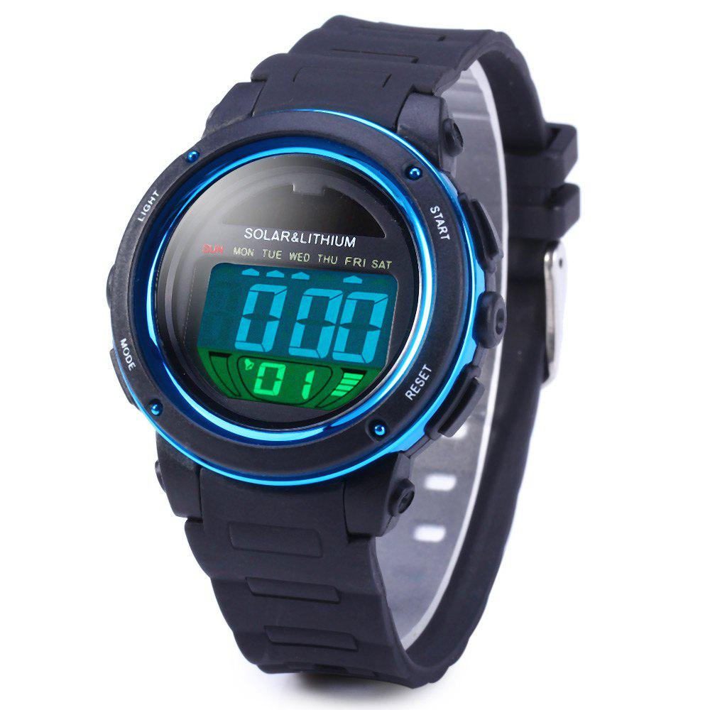 Skmei 1096 5ATM Water Resistant Solar Power LED Sports Watch with Backlight Alarm - BLUE