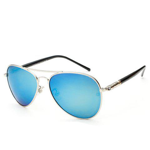 Stylish Alloy Bar Embellished Silver Frame Men's Sunglasses