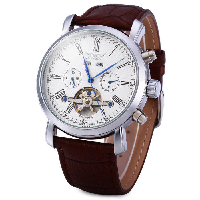 Jaragar A540 Men Tourbillon Genuine Leather Band Automatic Mechanical Watch with Two Working Sub-dials - BROWN
