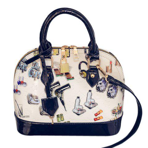 Stylish Color Block and Patent Leather Design Tote Bag For Women - COLORMIX