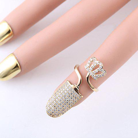 Crown Rhinestoned Cuff Nail Ring - GOLDEN ONE-SIZE