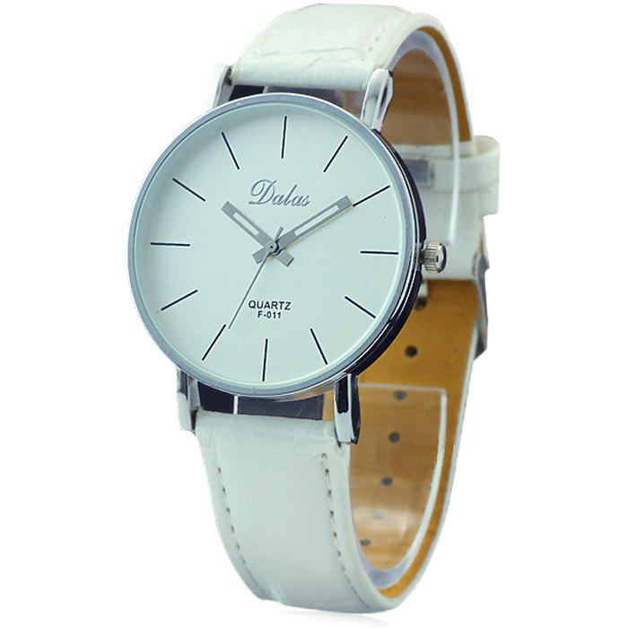Dalas F011 Simple Women Quartz Watch with Leather Watchband - WHITE