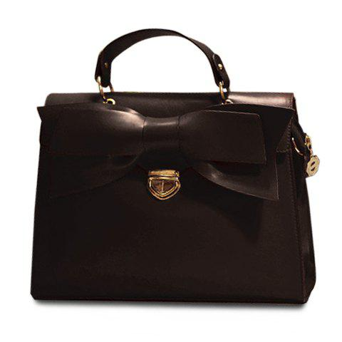 Elegant PU Leather and Bow Design Tote Bag For Women - BLACK