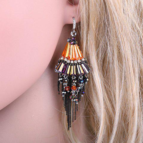 Pair of Stylish Faux Crystal Beads Chain Tassels Earrings For Women