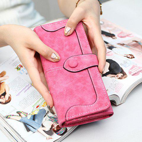 Fashion Suede and Solid Color Design Wallet For Women - ROSE