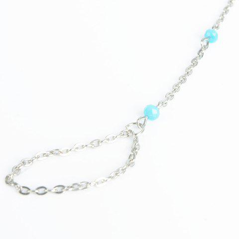Fake Crystal Beads Layered Tassel Anklet - SILVER