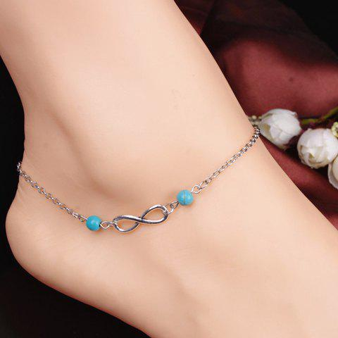 Retro Style Turquoise Infinity Women's Anklet - SILVER