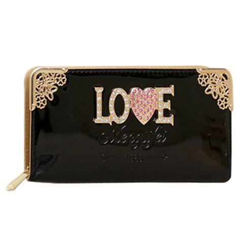 Pretty Rhinestones and Chains Design Wallet For Women - BLACK