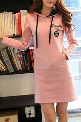 Preppy Style Letter Embroidered Hooded Long Sleeve Dress For Women - LIGHT PINK L